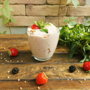 Strawberry yogurt with granola